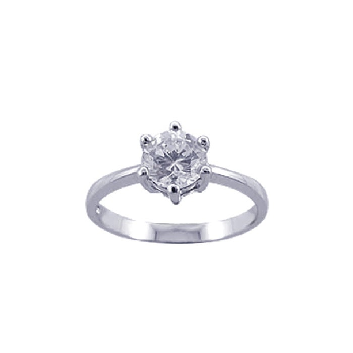 Sterling Silver Six Prong Solitaire Engagement Ring | Eve's Addiction®