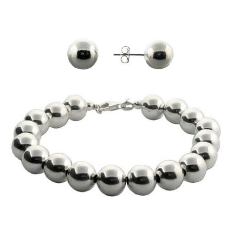 Silver Ball Bead Set | Silver Bead Studs | Eve's Addiction