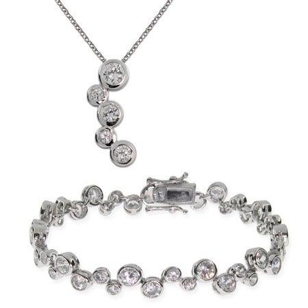Sterling Silver Bubbles Tennis Bracelet and Necklace Set | Eve's Addiction®