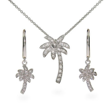 Palm Tree Necklace and Earring Set | Eve's Addiction®