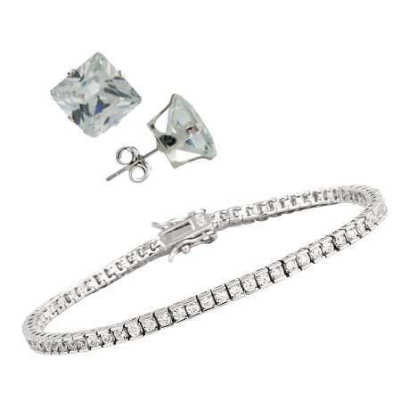 CZ Tennis Bracelet and Earring Set | Eve's Addiction®