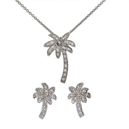Designer Style CZ Palm Tree Necklace and Stud Earring Set | Eve's Addiction®