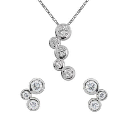 CZ Bubbles Stud Earrings and Necklace Set | Eve's Addiction®