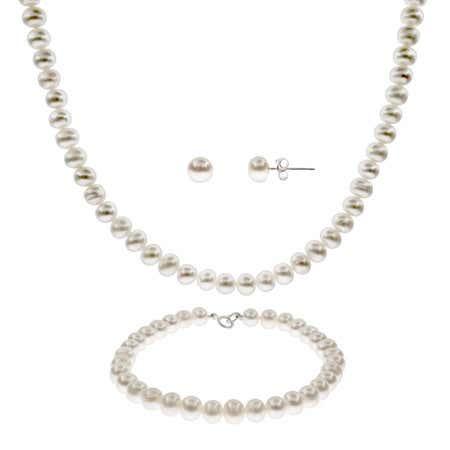 6mm Freshwater Pearl Necklace, Bracelet & Earring Set