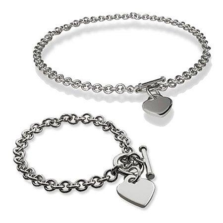 Heart Tag Bracelet and Necklace Set