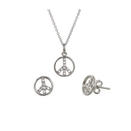 Petite CZ Peace Sign Pendant and Earrings