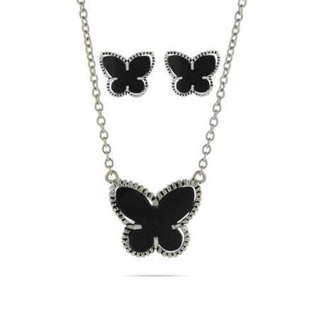 Designer Inspired Onyx Butterfly Earring and Necklace Set