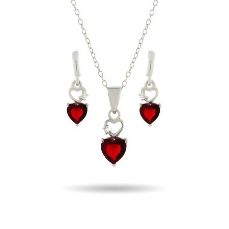 Red CZ Heart Earring and Necklace Set