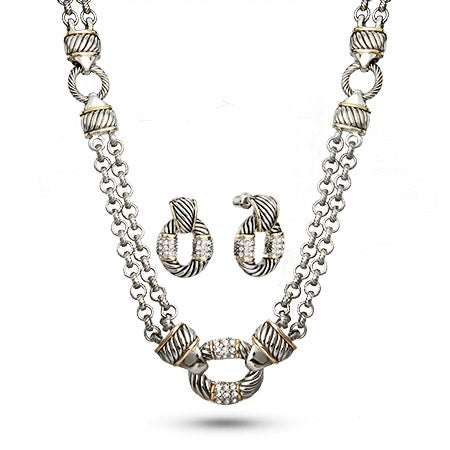 Designer Inspired Bali Style CZ Toggle Necklace and Earring Set | Eve's Addiction®