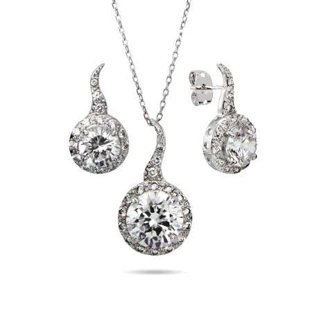 Brilliant Cut CZ Necklace and Earring Set