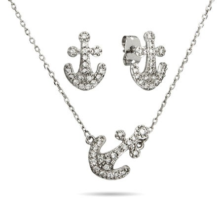Sideways Pave CZ Anchor Necklace and Earrings Set