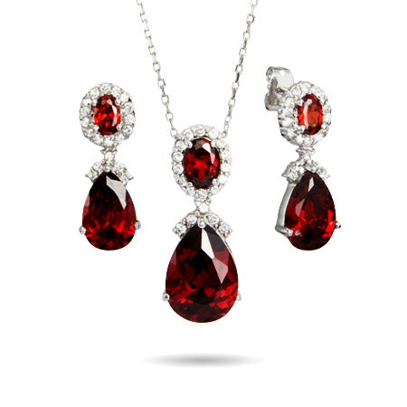 Ruby Red Peardrop CZ Necklace and Earring Set | Eve's Addiction®