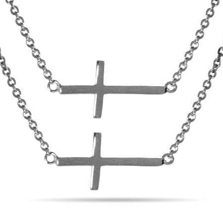 Sideways Sterling Silver Cross - Set of 2 | Eve's Addiction®