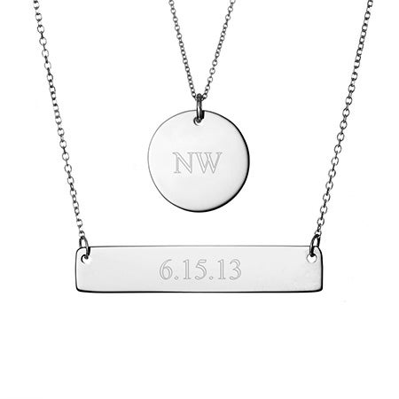 Engravable Round Charm and Bar Silver Necklaces