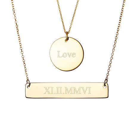 Engravable Bar and Round Charm Layered Gold Necklace Set