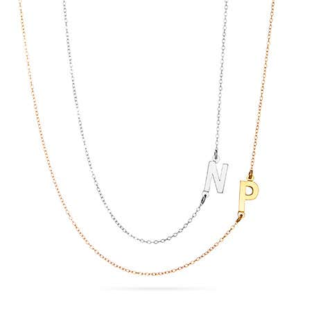 Layered Sideways Initial Silver and Gold Necklace Set