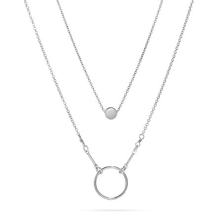 Layered Circle Sterling Silver Necklace Set