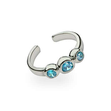 Blue Topaz Cubic Zirconia Toe Ring in Sterling Silver