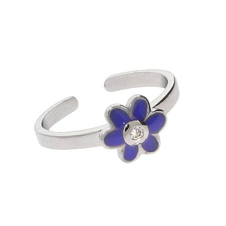 Blue Enamel CZ Flower Sterling Silver Toe Ring | Eve's Addiction®