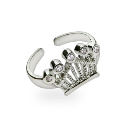 Crown Jewels Cubic Zirconia Toe Ring in Sterling Silver | Eve's Addiction®