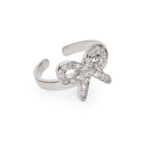Sterling Silver CZ Bow Toe Ring | Eve's Addiction®