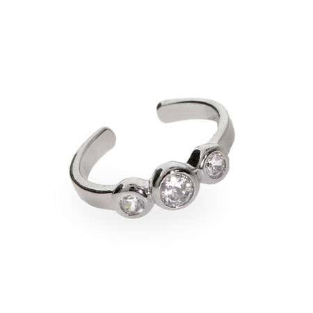 Sterling Silver CZ Bubbles Toe Ring