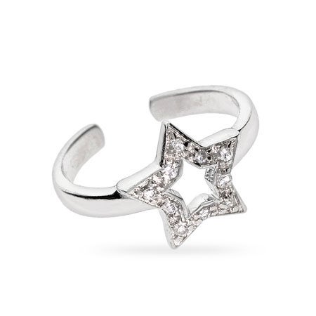 CZ Star Sterling Silver Toe Ring | Eve's Addiction®