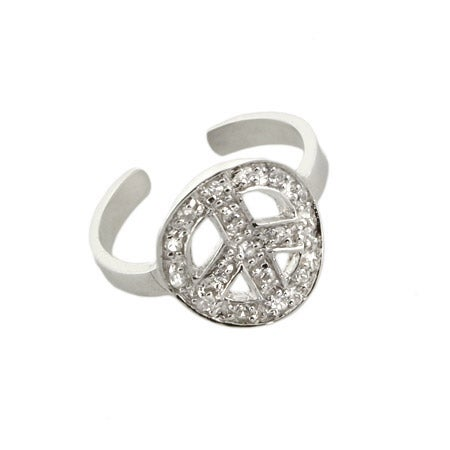 Cubic Zirconia Peace Sign Silver Toe Ring | Eve's Addiction®