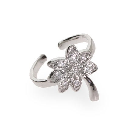 Cubic Zirconia Palm Tree Silver Toe Ring | Eve's Addiction®