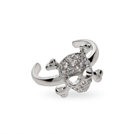 Pave Skull & Crossbones CZ Silver Toe Ring | Eve's Addiction®