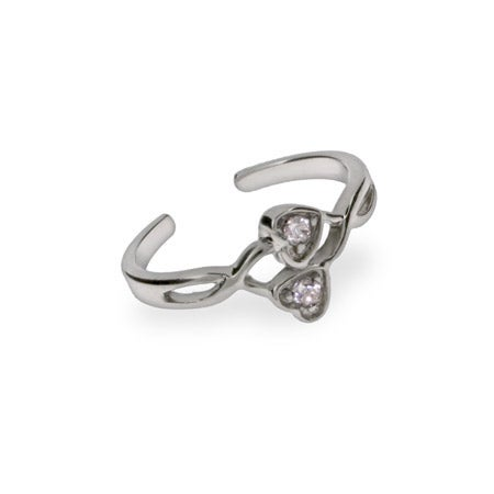 Joined CZ Hearts Sterling Silver Toe Ring | Eve's Addiction®
