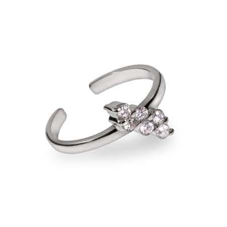 Diagonal CZ Sterling Silver Toe Ring | Eve's Addiction®