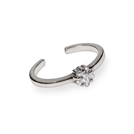 Brilliant Cut Twinkling Star CZ Sterling Silver Toe Ring   Eve's Addiction®