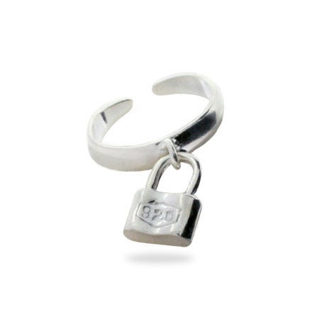 Designer Style Sterling Silver 1837 Lock Toe Ring | Eve's Addiction®