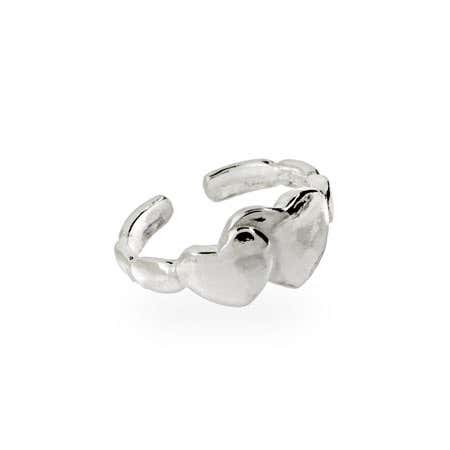 Sterling Silver Double Heart Toe Ring | Eve's Addiction®