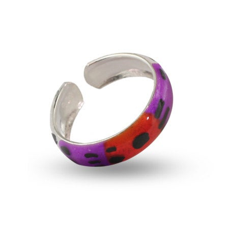 Multi Color Enamel Sterling Silver Toe Ring | Eve's Addiction®
