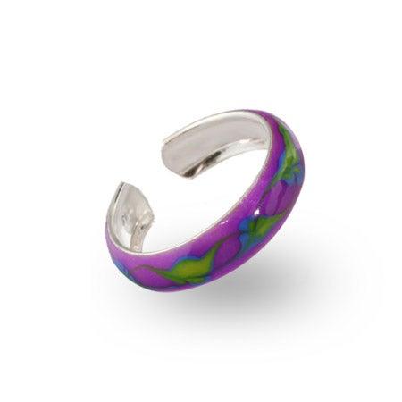 Leaf Design Purple Enamel Sterling Silver Toe Ring | Eve's Addiction®