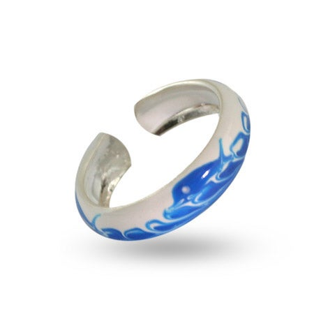 Blue Dolphin Sterling Silver Enamel Toe Ring | Eve's Addiction®