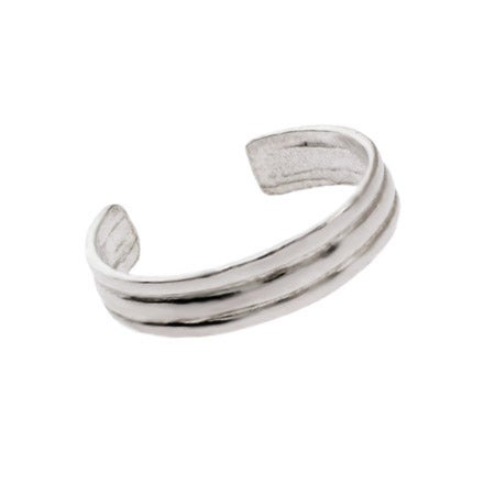 Plain Ribbed Style Sterling Silver Toe Ring | Eve's Addiction®