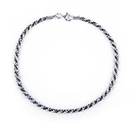 Black and White Twisted Silver Anklet