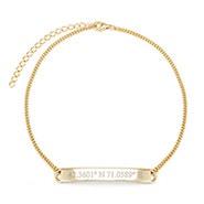 Custom Coordinate Name Bar Gold Anklet