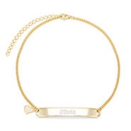 Engravable Name Bar Gold Anklet with Heart Charm