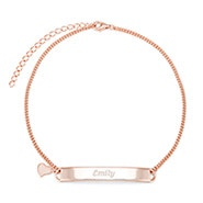 Engravable Name Bar Rose Gold Anklet with Heart Charm