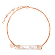 Custom Coordinate Name Bar Rose Gold Anklet with Heart Charm