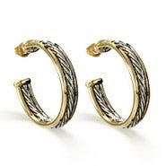Designer Inspired Two Tone Cable Hoop Earrings
