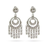 Double Round CZ Chandelier Earrings