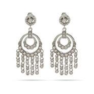 Double Round CZ Chandelier Earrings