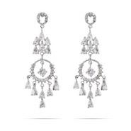 Elegant Circle and Teardrop Chandelier Earrings