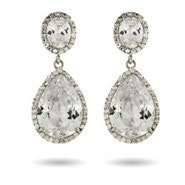 Glamorous Red Carpet Style Peardrop with Oval CZ Earrings
