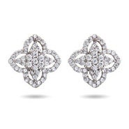 Vintage Deco Style CZ Clover Earrings